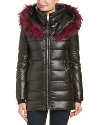 Nicole Benisti - Leather-trim Down Coat - Lyst