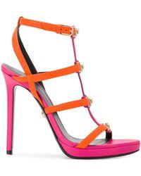 Versace - Women's Orange Leather Sandals - Lyst