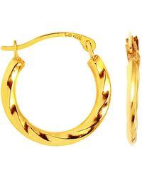 Jewelry Affairs - 10k Yellow Gold Twisted Hoop Earrings, Diameter 15mm - Lyst