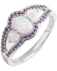 Peermont - 18k White Gold Plated White Fire Opal & Amethyst Cz Ring - Lyst