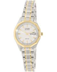 Citizen - Women's Eco-drive Ew3144-51a Silver Two-tone Stainless-steel Fashion Watch - Lyst