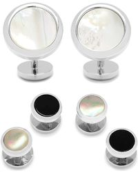 Ox and Bull Trading Co. - Double Sided Mother Of Pearl Round Beveled Stud Set - Lyst