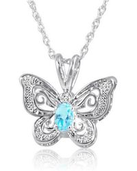 Amanda Rose Collection - Sterling Silver Sky-blue Topaz And Diamond Butterfly Pendant-necklace - Lyst