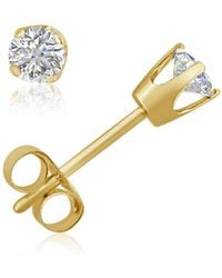 Amanda Rose Collection - Ags Certified 1/3ct Tw Round Diamond Stud Earrings In 14k Yellow Gold - Lyst