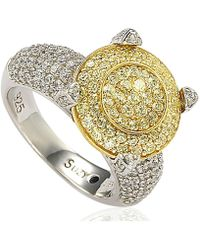 Suzy Levian - Sterling Silver Cubic Zirconia Yellow Stone Shape Ring - Lyst