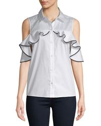 Saks Fifth Avenue - Ruffle Cold-shoulder Top - Lyst