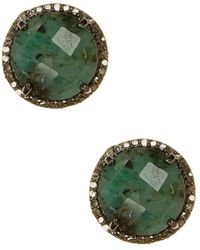 Adornia - Emerald And Champagne Diamond Echo Earrings - Lyst