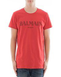 Balmain | Red Cotton T-shirt | Lyst