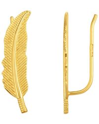 Jewelry Affairs - 14k Yellow Gold Feather - Leaf Design Climber Earrings - Lyst
