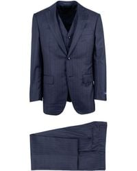 Pal Zileri - Blue Striped Wool Two Button Three Piece Suit - Lyst