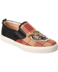 Gucci - Tiger Applique Wool & Leather Slip On Sneaker - Lyst