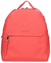 Orciani - Women's Red Leather Backpack - Lyst