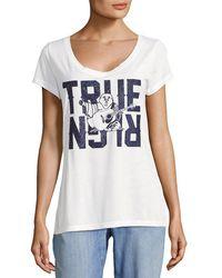 True Religion - V-neck Logo Tee - Lyst