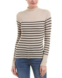 Vince - Striped Cashmere Mock Neck Sweater - Lyst