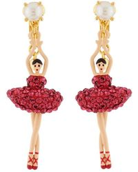 Les Nereides | Luxury Pas De Deux Toe-dancing Ballerina With Indian Pink Crystals Clip Earrings | Lyst