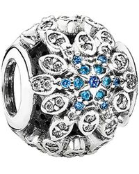 PANDORA - Crystalized Snowflakes Silver Cz & Crystal Charm - Lyst