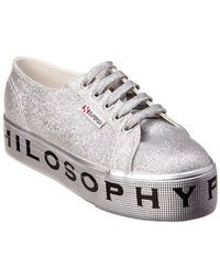 Philosophy - Superga Flatform Glitter Leather Sneaker - Lyst