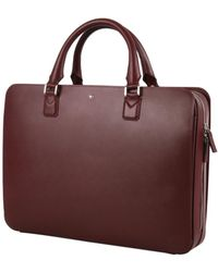 Montblanc - Men's Burgundy Leather Messenger Bag - Lyst