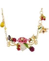 Les Nereides - Balad In Versailles Pink Flower On Stone With Lemons And Littles Flowers Long Necklace - Lyst