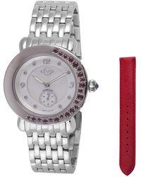 Gv2 - Marsala Gemstone Red Leather Ss Bracelet Watch - Lyst
