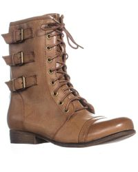 Madden Girl - Ginghamm Triple Bucklet Combat Boots, Cognac - Lyst