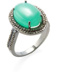 Adornia - Chrysoprase And Champagne Diamond Gemma Ring - Lyst