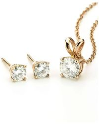 Charles & Colvard - Forever Classic Rose Gold Moissanite Earrings And Pendant Necklace Set - Lyst