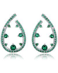 Peermont - 18k White Gold Plated Nano Emerald Teardrop Earrings - Lyst