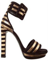 Saint Laurent - Women's 315709c2wr01059 Black/gold Leather Sandals - Lyst