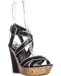 Guess - G By Bethia Strappy Wedge Sandals, Black Multi - Lyst