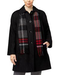 London Fog - Plus Size Wool Blend Walker Coat With Scarf - Lyst