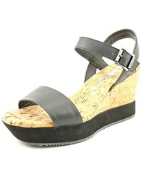 DKNY - Ione Women Open Toe Leather Black Wedge Sandal - Lyst