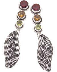 Jewelista - Oxidized Silver & Gemstone Drop Earrings - Lyst
