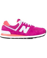 New Balance - Wl574 Women Round Toe Suede Pink Fashion Sneakers - Lyst