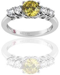 Suzy Levian - Sterling Silver Yellow & White Cubic Zirconia 5 Stone Engagement Ring - Lyst