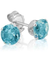 Amanda Rose Collection - Swiss Blue Topaz Stud Earrings Set In Sterling Silver ( 1ct Tw 5mm) - Lyst