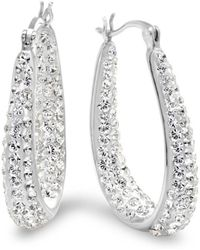 Amanda Rose Collection - Sterling Silver Hoop Earrings Made With Swarovski Crystals - Lyst
