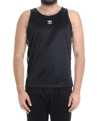 adidas - Men's Black Polyester Tank Top - Lyst