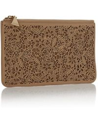Nada Sawaya - Ml4s P Top Zip Pouch Laser Cut Leather Champagne - Lyst