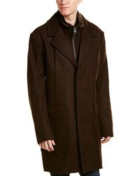 Cole Haan - Leather-trim Wool-blend Coat - Lyst