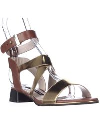 French Connection - Corazon Ankle Strap Low Dress Sandals - Gold/tan - Lyst