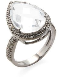 Adornia - Sterling Silver And Champagne Diamond Pear Shaped Clear Quartz Ring - Lyst