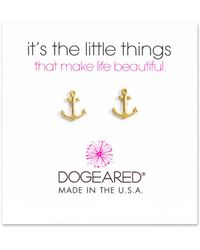 Dogeared | 14k Over Silver It's The Little Things Anchor Drop Earrings | Lyst