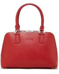 Susu - Melissa Leather Dome Shape Red Satchel Women Top Handle Bag - Lyst
