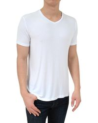 Stone Rose - Soft White V-neck Modal T-shirt - Lyst
