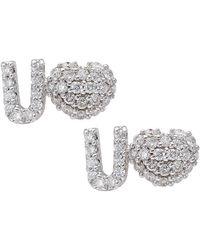 CR By Casa Reale - 18 K Gold White Diamond Heart U Earrings - Lyst
