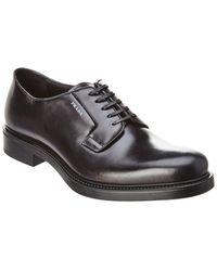 Prada - Polished Leather Derby Shoe - Lyst