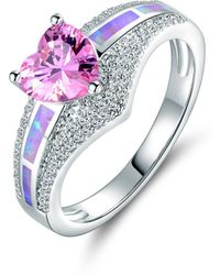 Peermont - 18k White Gold And Pin. K Opal Cubic Zirconia Heart Rin. G-size 5 - Lyst