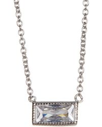 Adornia - Sterling Silver And Swarovski Crystal Rectangle Cut Necklace - Lyst