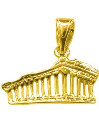 Jewelry Affairs - Sterling Silver 18 Karat Gold Overlay Athens Parthenon Akropolis Pendant - Lyst